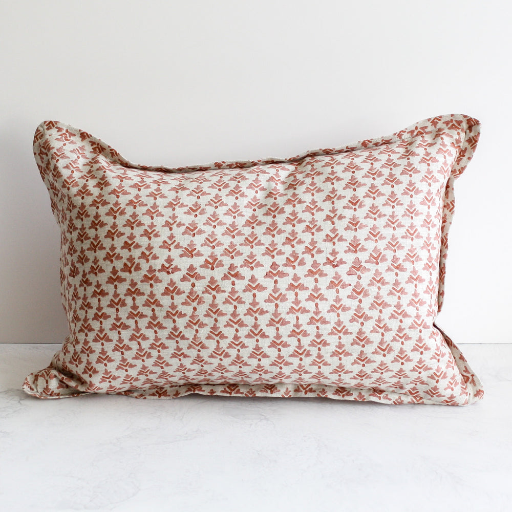 Hampi Guava Lumbar Pillow hand printed in pink with 100 percent oatmeal linen with feather insert by Walter G Textiles