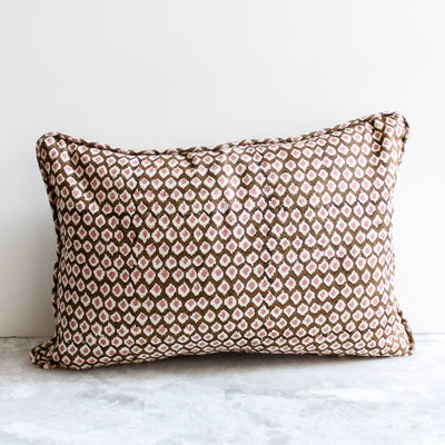 Patola Musk Lumbar Pillow hand block printed in brown and pink by Walter G Textiles