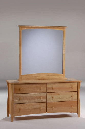 Wood Dresser 6 Drawers and Mirror  - Natural