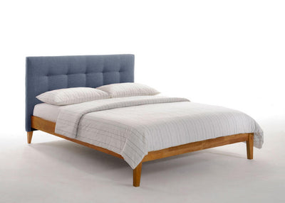 Charcoal-Upholstered-Headboard-Bed-Frame-in-Medium-Oak-Finish