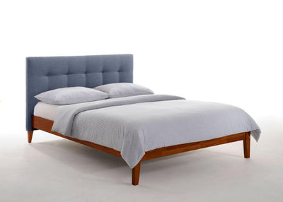 Charcoal-Upholstered-Headboard-Bed-Frame-in-Cherry-Finish