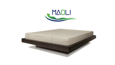 natural latex mattress on platform bed frame