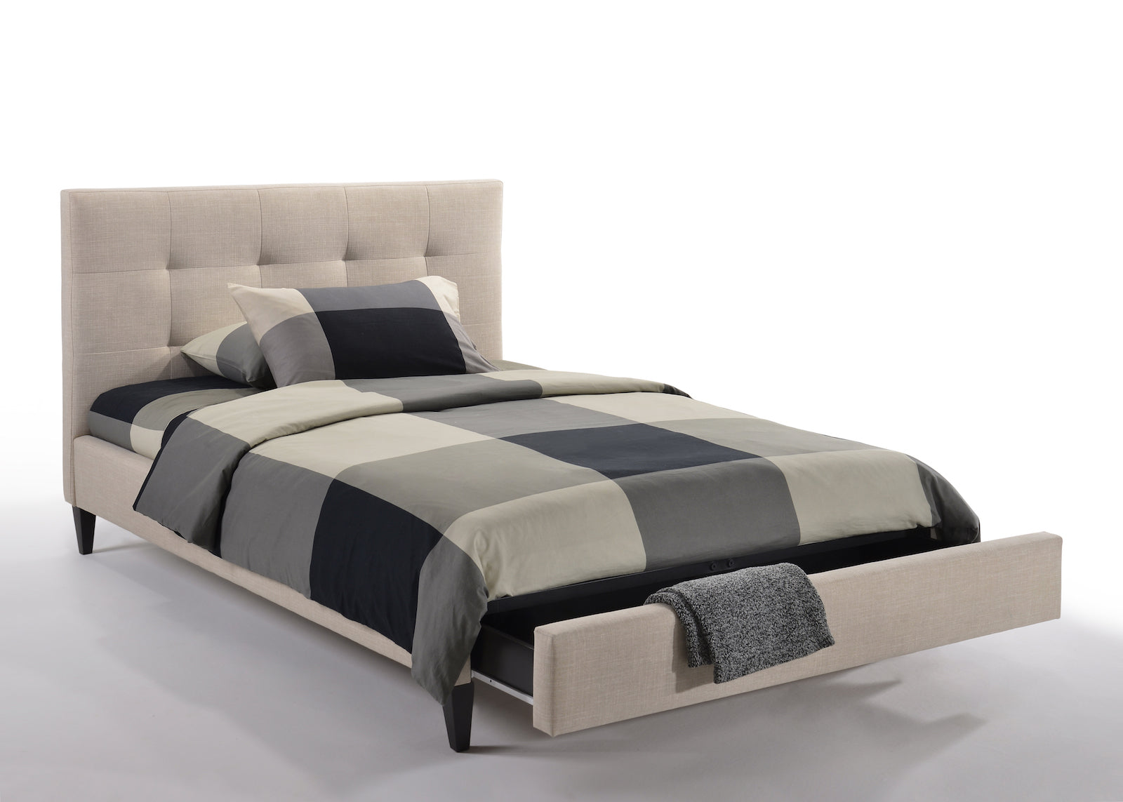 SAGE FABRIC UPHOLSTERED BED FRAME / OPTIONAL DRAWERS