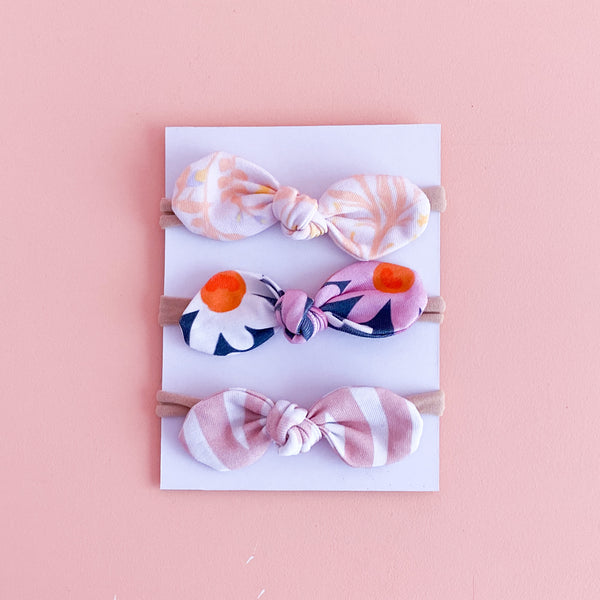 Baby Bows (Peachy Floral, Daisies + Abstract Pink)