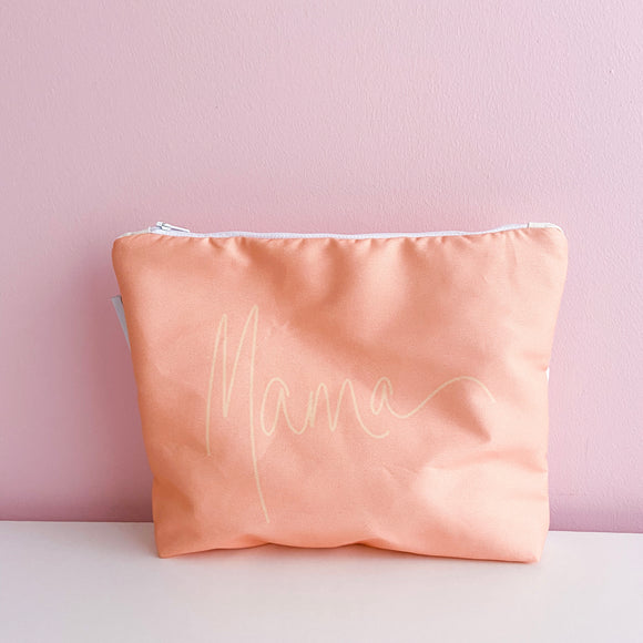 Handwritten ~mama~ Nappy Clutch (PEACH)