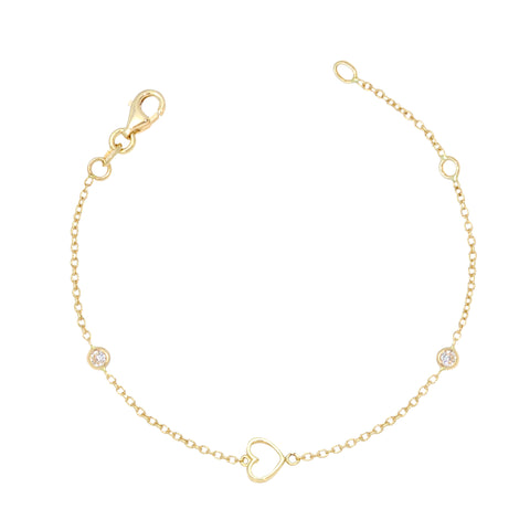 Gold Kids Bracelet UNICORNJ Childrens Toddler 14k Yellow Gold Cubic Zirconia Open Heart Bracelet 5.75""