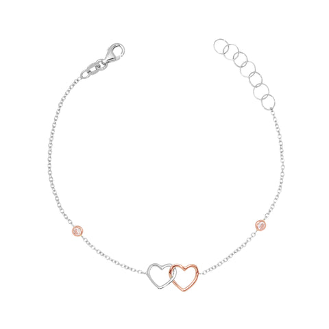 Gold Kids Bracelet UNICORNJ Childrens Tweens Teens 14k White and Rose Gold Cubic Zirconia Linked Hearts Bracelet 7""