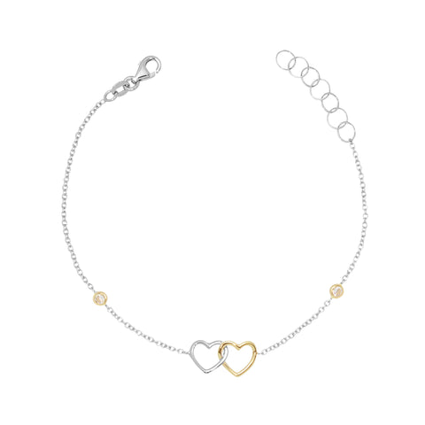 Gold Kids Bracelet UNICORNJ Childrens Tweens Teens 14k White and Yellow Gold Cubic Zirconia Linked Hearts Bracelet 7""
