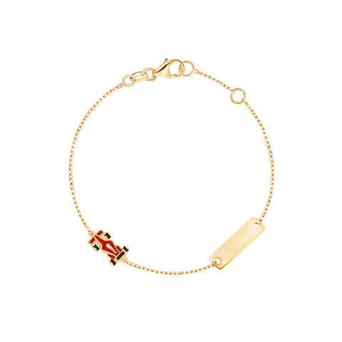 14K Yellow Gold Kids Girls Boys ID Bracelet Racing Car Charm Red Enamel Italy 5.5""