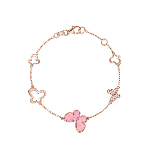 14K Rose Gold Butterfly Bracelet with Pink Mother of Pearl and Simulated Diamonds Italy 7""
