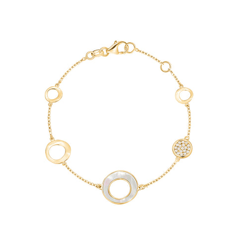 14K Yelow Gold Round Circle Disc Bracelet with Mother of Pearl and Simulated Diamonds Italy 7""