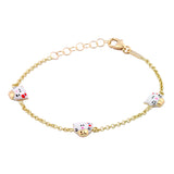 Gold Kids Bracelet Unicornj 14K Yellow Gold Bracelet with Enameled kitty Charms Kids & Children