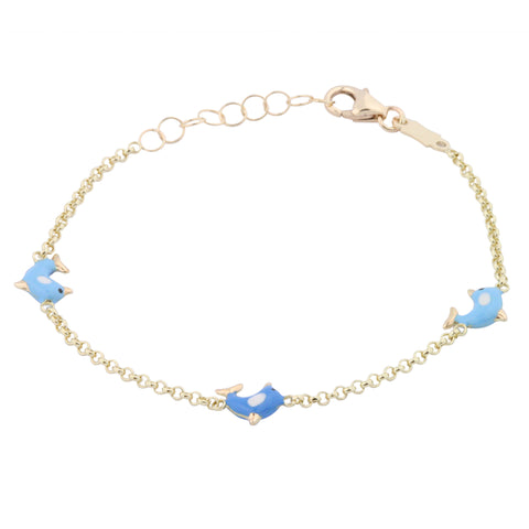 Gold Kids Bracelet Unicornj 14K Yellow Gold Dolphin Bracelet Enameled Blue and White Kids & Children