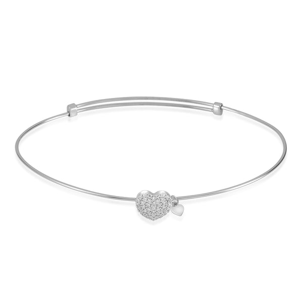 Gold Kids Bracelet UNICORNJ Childrens Tweens Teens 14k White Gold Cubic Zirconia Pave Heart Bangle Bracelet Adjustable Size
