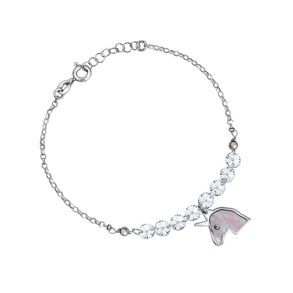 Sterling Silver Unicorn Bracelet with Mother of Pearl Inlay and Diamond Crystals 7.5""
