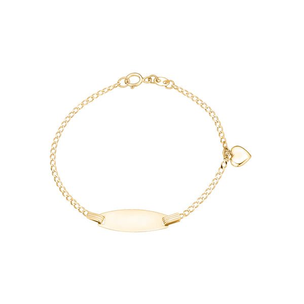 "14K Yellow Gold ID Bracelet Curb Chain with Heart Charm Dangle Italy 5.5"" for Girls and Boys"