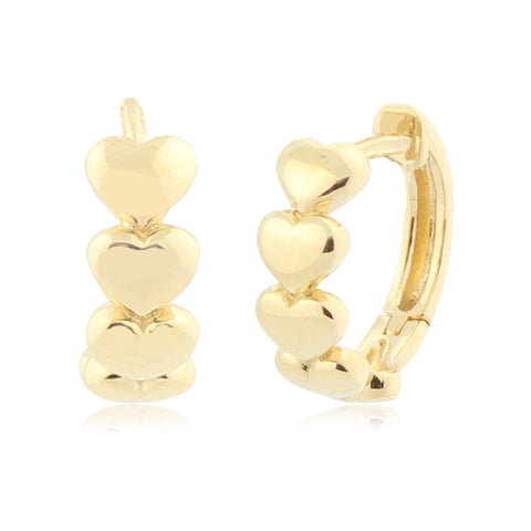 Gold Kids Earrings UNICORNJ Childrens 14k Yellow Gold Polished Hearts in Row Hoop Huggie Earrings 12mm Diameter
