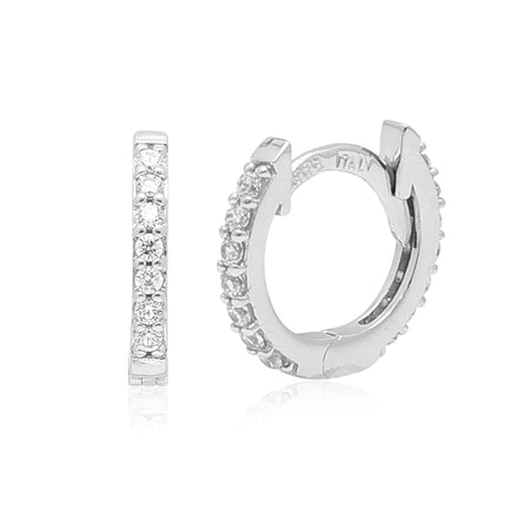 Gold Kids Earrings UNICORNJ Childrens 14k White Gold Cubic Zirconia all Around Hoop Huggie Earrings 11mm Diameter