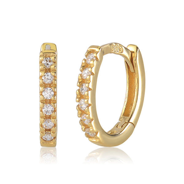 Gold Kids Earrings UNICORNJ Childrens 14k Yellow Gold Cubic Zirconia Hoop Huggie Earrings 11mm Diameter