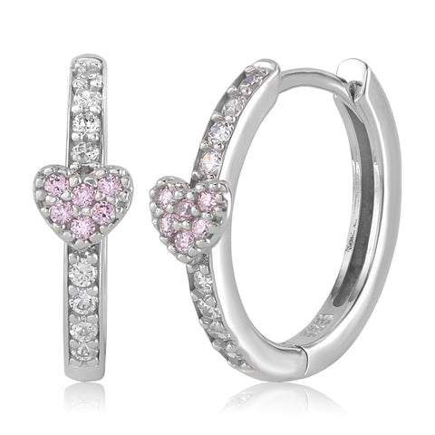 Gold Kids Earrings UNICORNJ Childrens Tweens 14k White Gold Cubic Zirconia Pink Heart Hoop Huggie Earrings 14.5mm Diameter