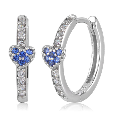 Gold Kids Earrings UNICORNJ Childrens Tweens 14k White Gold Cubic Zirconia Blue Heart Hoop Huggie Earrings 14.5mm Diameter