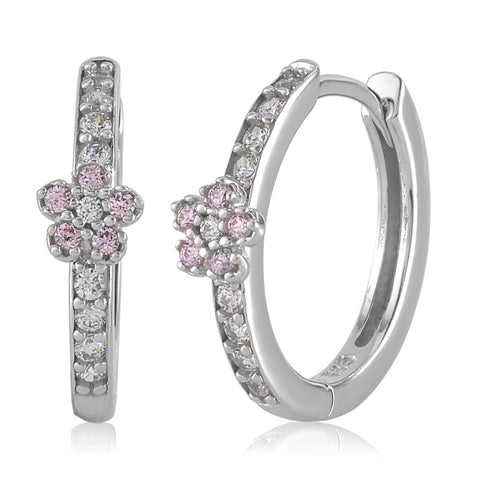 Gold Kids Earrings UNICORNJ Childrens Tweens 14k White Gold Cubic Zirconia Pink Flower Hoop Huggie Earrings 14.5mm Diameter