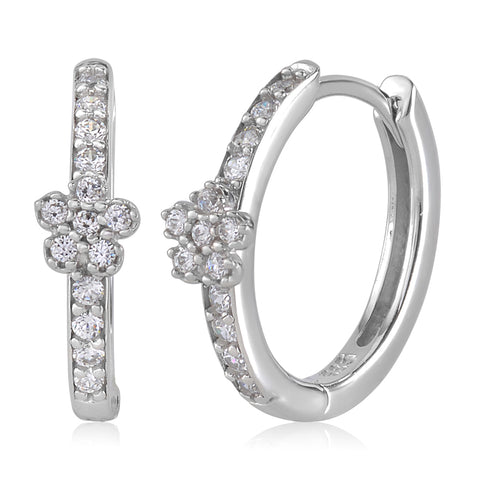 Gold Kids Earrings UNICORNJ Childrens Tweens 14k White Gold Cubic Zirconia Flower Hoop Huggie Earrings 14.5mm Diameter
