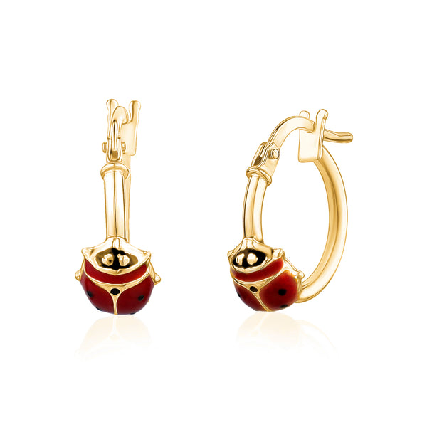 14K Yellow Gold Hoop Earrings with Ladybug Red Enamel Italy