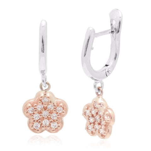 Gold Kids Earrings UNICORNJ Childrens 14k White and Rose Gold Cubic Zirconia Pave Flower Dangle Leverback Earrings