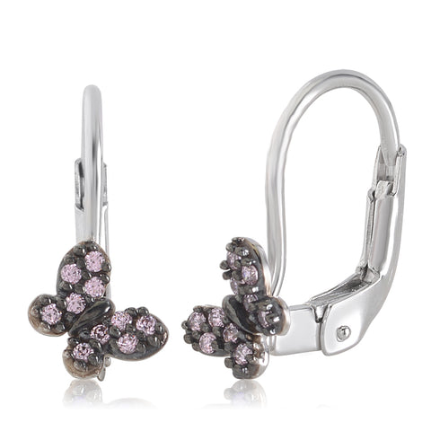Gold Kids Earrings UNICORNJ Childrens 14k White Gold Pink Cubic Zirconia Pave Butterfly Leverback Earrings