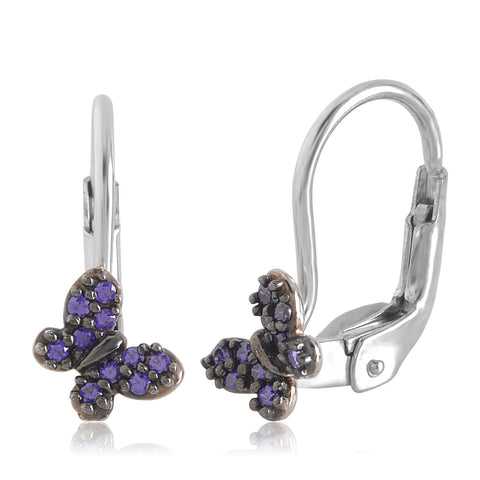 Gold Kids Earrings UNICORNJ Childrens 14k White Gold Purple Cubic Zirconia Pave Butterfly Leverback Earrings