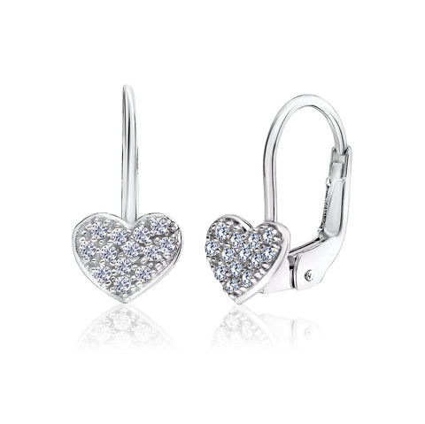UNICORNJ Childrens 14k White Gold Cubic Zirconia Pave Heart Leverback Earrings Italy