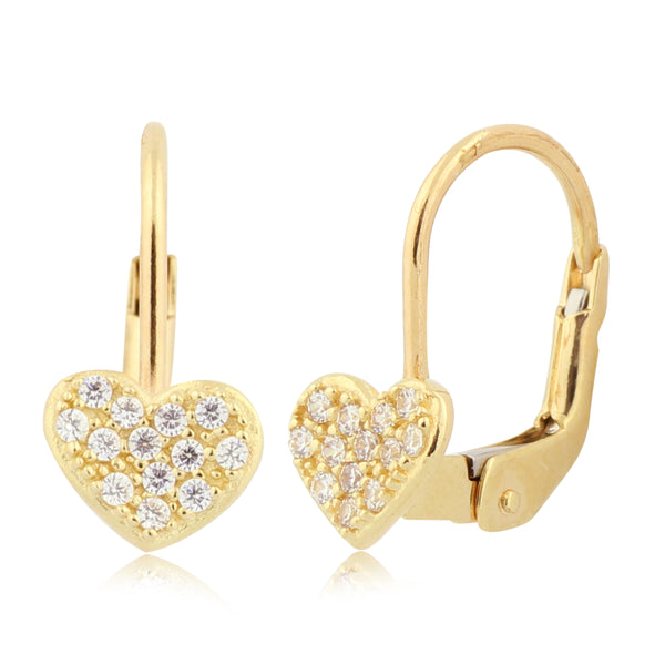 Gold Kids Earrings UNICORNJ Childrens 14k Yellow Gold Cubic Zirconia Pave Heart Leverback Earrings