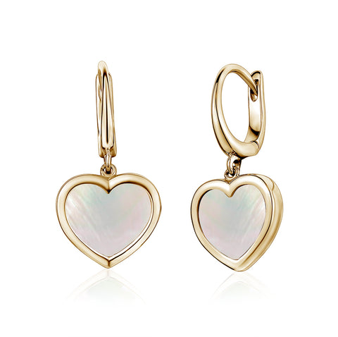 14K Yellow Gold Heart Leverback Earrings Mother of Pearl for Girls and Women Italy