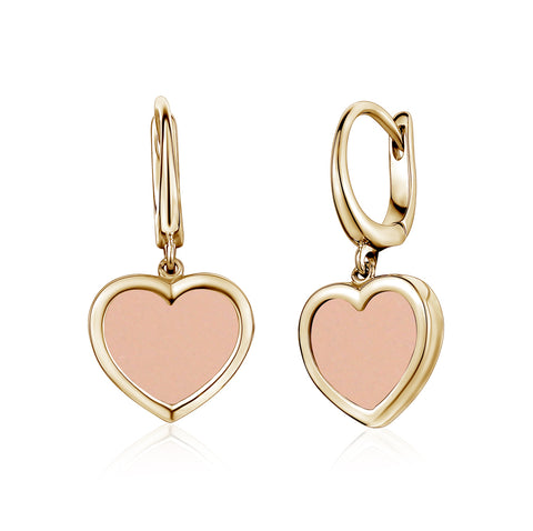14K Yellow Gold Heart Leverback Earrings Pink for Girls and Women Italy