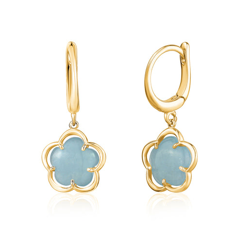 14K Yelow Gold Leverback Dangle Flower Earrings with Flower Shape Milky Aquamarine Cabochon Italy