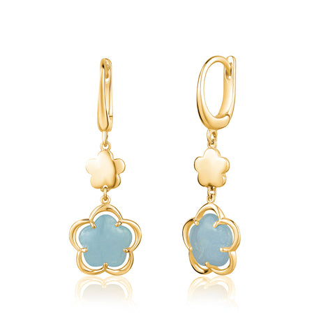 14K Yelow Gold Leverback Double Dangle Flower Earrings with Flower Shape Milky Aquamarine Cabochon Italy