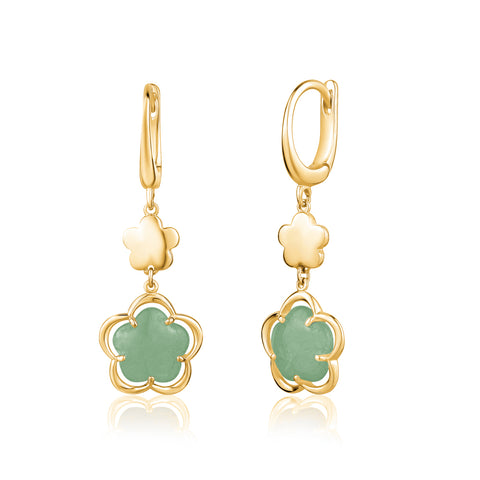 14K Yelow Gold Leverback Double Dangle Flower Earrings with Flower Shape Green Aventurine Cabochon Italy