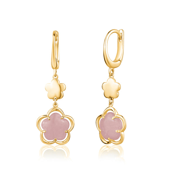 14K Yelow Gold Leverback Double Dangle Flower Earrings with Flower Shape Pink Opal Cabochon Italy