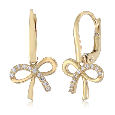 Gold Kids Earrings UNICORNJ Childrens 14k Yellow Gold Cubic Zirconia Pave Bow Dangle Leverback Earrings