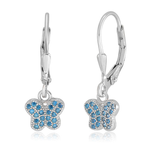 Kids Silver Earrings UNICORNJ Children's Tweens Sterling Silver Light Blue Cubic Zirconia Pave Butterfly Dangle Leverback Earrings