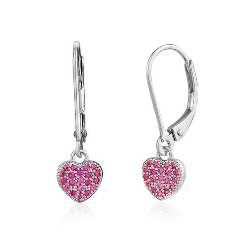 Sterling Silver Heart Charm Leverback Earrings with Pavé Dark pink Cubic Zirconia