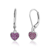 Sterling Silver Heart Charm Leverback Earrings with Pavé Red Cubic Zirconia