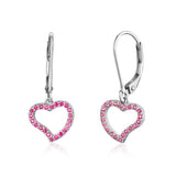 Sterling Silver Open Heart Design Charm Leverback Earrings with Pavé Dark Pink Cubic Zirconia