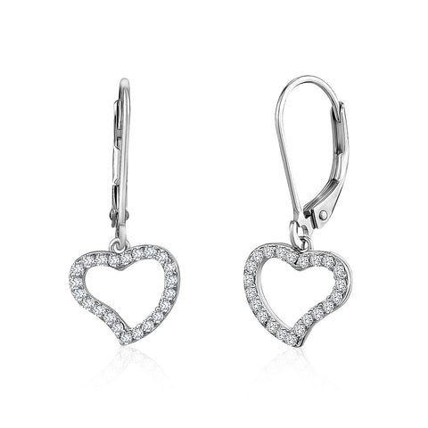 Kids Silver Earrings UNICORNJ Children's Tweens Sterling Silver Cubic Zirconia Open Heart Outline Dangle Leverback Earrings