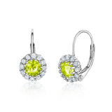Kids Silver Earrings UNICORNJ Children's Tweens Sterling Silver Light Green Cubic Zirconia Round Halo August Birth Month Leverback Earrings 4mm