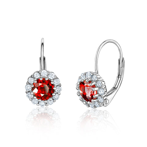 Kids Silver Earrings UNICORNJ Children's Tweens Sterling Silver Red Cubic Zirconia Round Halo January Birth Month Leverback Earrings 4mm
