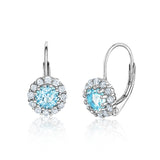 Kids Silver Earrings UNICORNJ Children's Tweens Sterling Silver Light Blue Cubic Zirconia Round Halo March Birth Month Leverback Earrings 4mm
