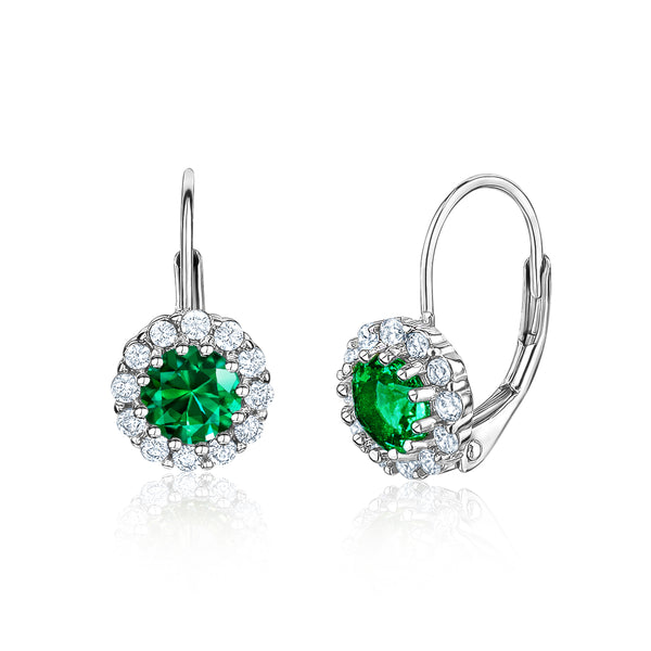 Kids Silver Earrings UNICORNJ Children's Tweens Sterling Silver Green Cubic Zirconia Round Halo May Birth Month Leverback Earrings 4mm