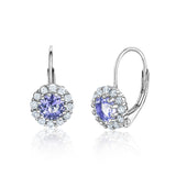 Kids Silver Earrings UNICORNJ Children's Tweens Sterling Silver Dark Blue Cubic Zirconia Round Halo September Birth Month Leverback Earrings 4mm